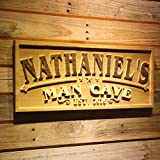 """wpa0359 Name Personalized Man CAVE Established Year Men Gifts Birthday Wood Engraved Wooden Sign - Large 26.75"""" x 10.75"""""""