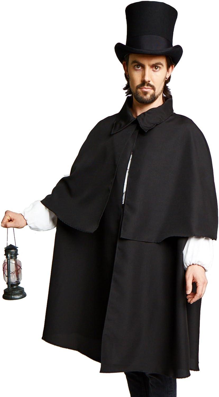 Victorian Dickens Steampunk Sherlock Holmes Costume Cloak Cape Inverness Black