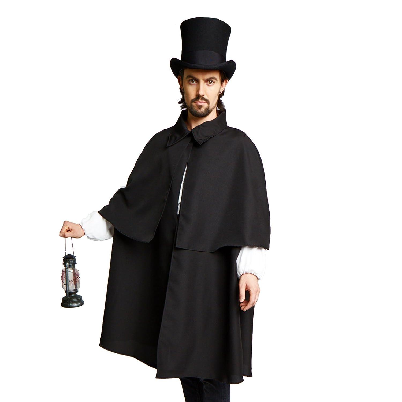Largemouth Victorian Dickens Steampunk Sherlock Holmes Costume Cloak Cape Inverness Black