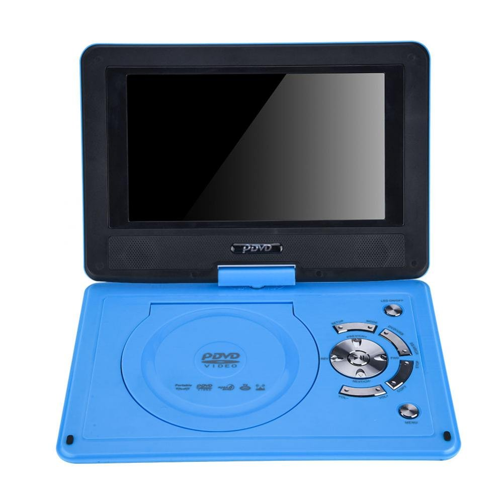 Zerone 9.8 Inch Portable DVD Player with Rechargeable Battery, Swivel Screen, SD Card Slot and USB Port, Support AVI, EVD, DVD, SVCD, VCD, CD, CD-R/RW, MPEG-4 and JPG Format, Blue(US Plug)