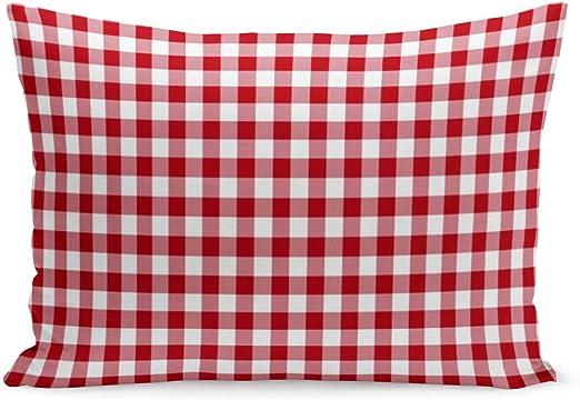 Home Decor Cushion Cover Check Red Sofa Décor Pillowcase 17/'/' x 17/'/' Pillow Sham