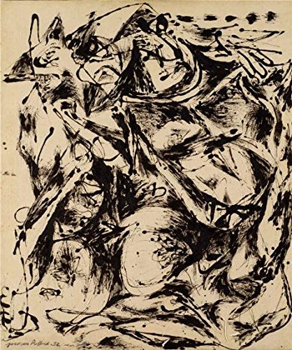 High Quality Polyster Canvas ,the Reproductions Art Decorative Prints On Canvas Of Oil Painting 'Jackson Pollock,No.6,1952', 30x36 Inch / 76x91 Cm Is Best For Bedroom Artwork And Home Decoration And (Diva Zebra Print Lunch Napkins)
