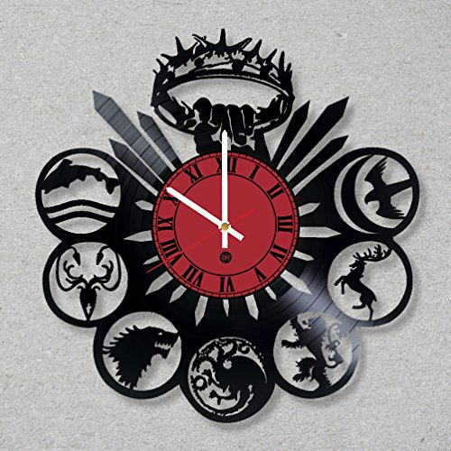 (Vinyl Record Wall Clock Game of Thrones Snow King's Landing HBO Dragons Winterfell decor unique gift ideas for friends him her boys girls World Art Design)