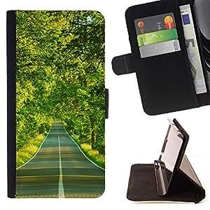 For LG G3 Case , Spring Drive Libertad árboles verdes- la tarjeta de Crédito Slots PU Funda de cuero Monedero caso cubierta de piel