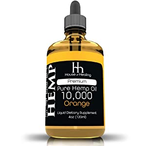 House of Healing Hemp Oil for Pain Anxiety Relief :: Hemp 10,000mg :: Hemp Extract :: May Help with Inflammation, Joints, Mood, Sleep and More :: Hemp Drops :: Orange Flavor