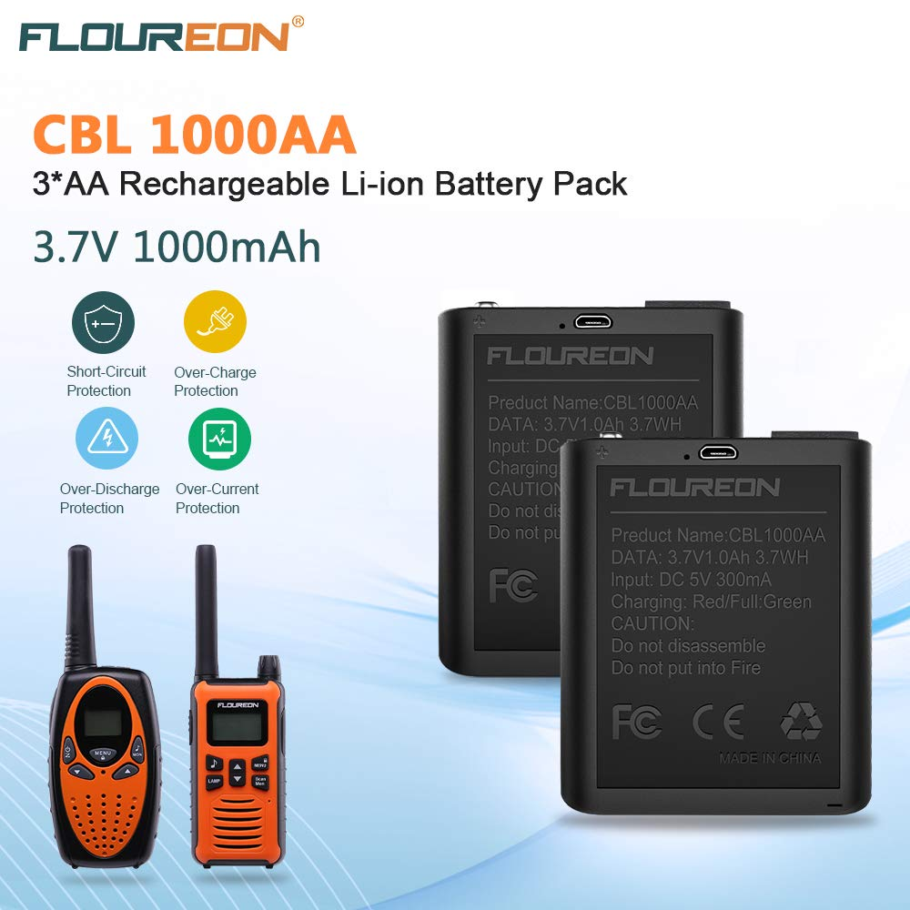 floureon Rechargeable Battery Compatible with Walkie Talkies with USB Charging Cable