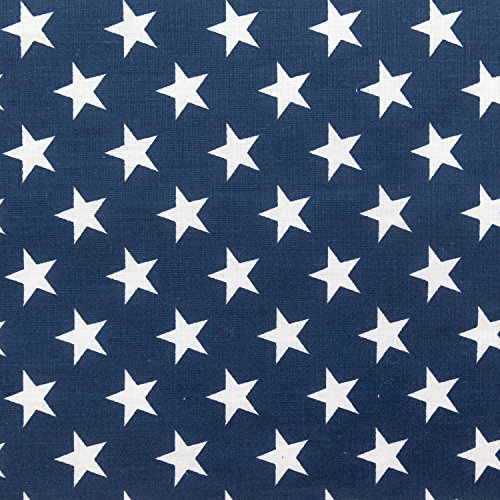 Stars on Navy Poly Cotton 60 Inch Fabric By the Yard (F.E.)