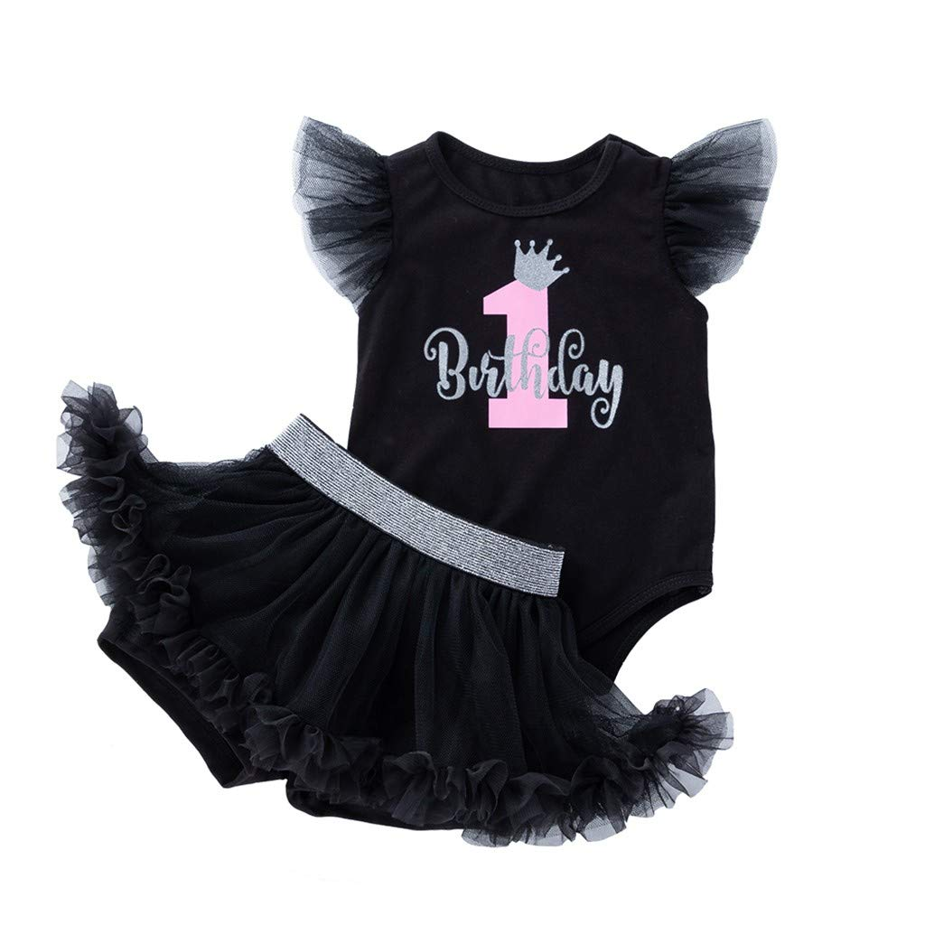 Newborn Infant Baby Birthday Print Romper Fly Sleeve Jumpsuit Bodysuit Tops+Black Mesh Tutu Skirt Outfit Set 0-24M (3-6 Months)