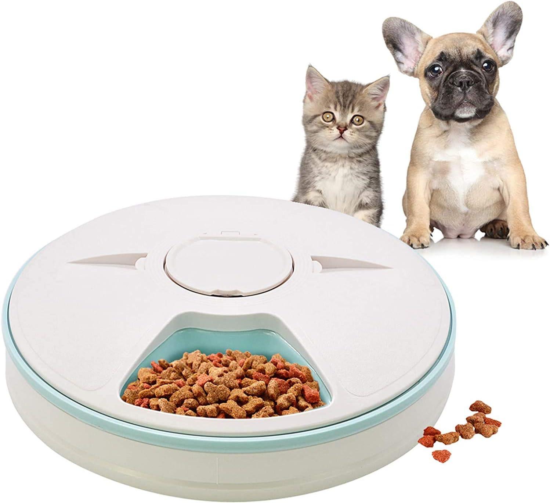 Alimentador automático de mascotas para gatos, perros, conejos, animales pequeños, 6 bandejas de comida de agua para alimentos secos y húmedos, con pantalla LCD, temporizador digital programable