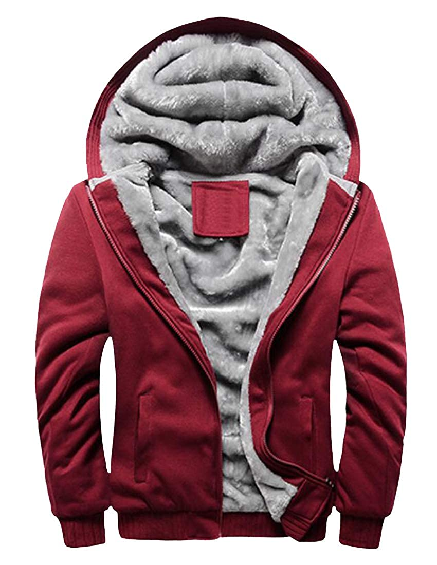 Lutratocro Men Jacket Hooded Thicken Winter Zipper Fleece Lined Outerwear Sweatshirts