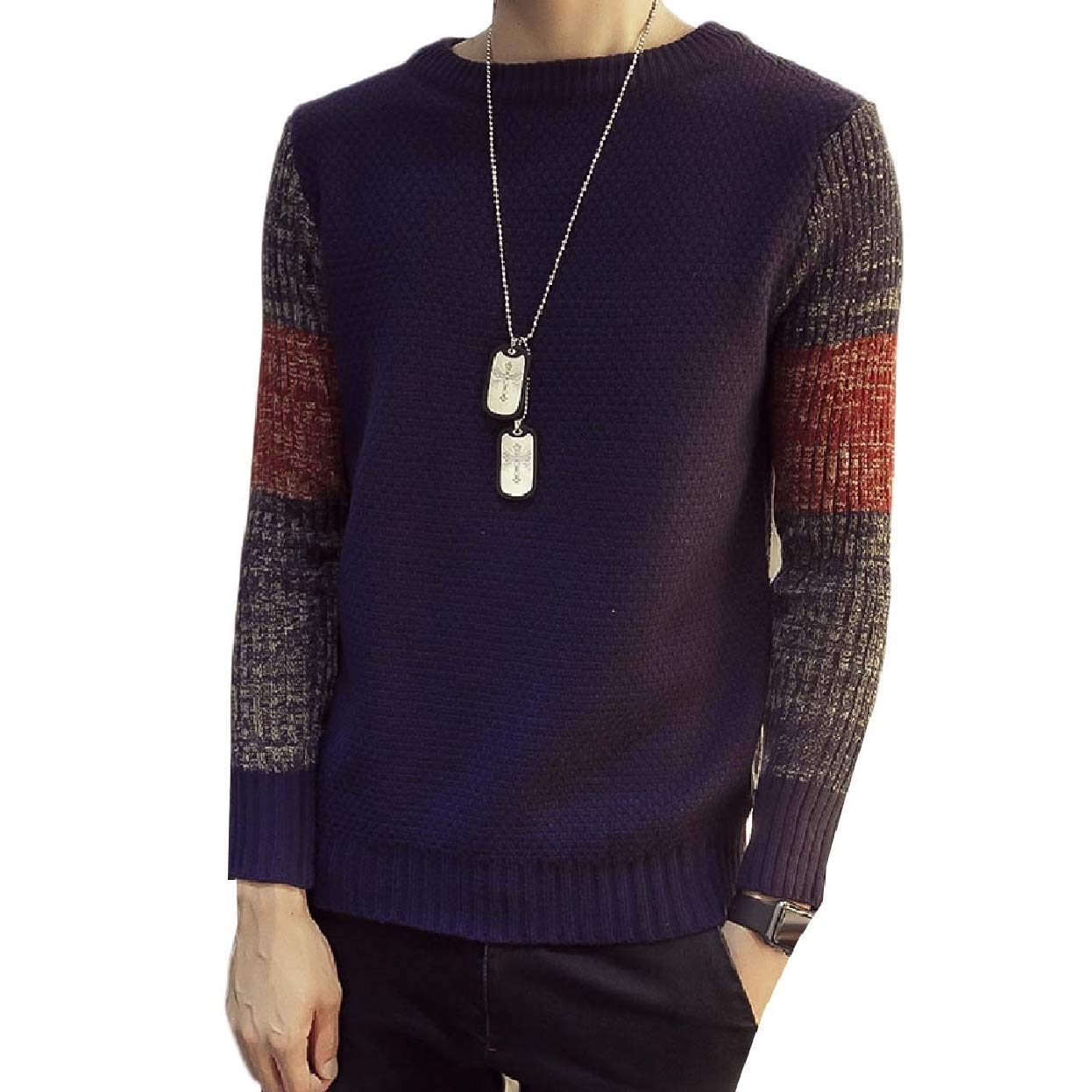 Zimaes-Men Fall Plus Size Classic Long-Sleeve Knit Pullover Sweaters