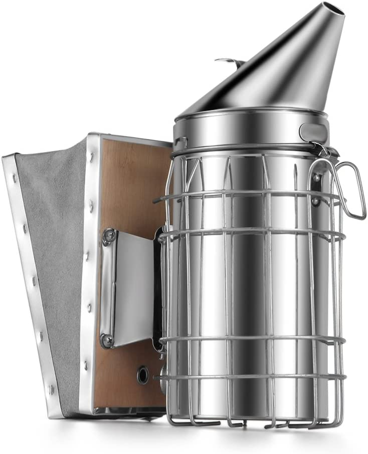 Flexzion Stainless Steel Bee Hive Smoker with Heat Shield Protection and Mounting Hook