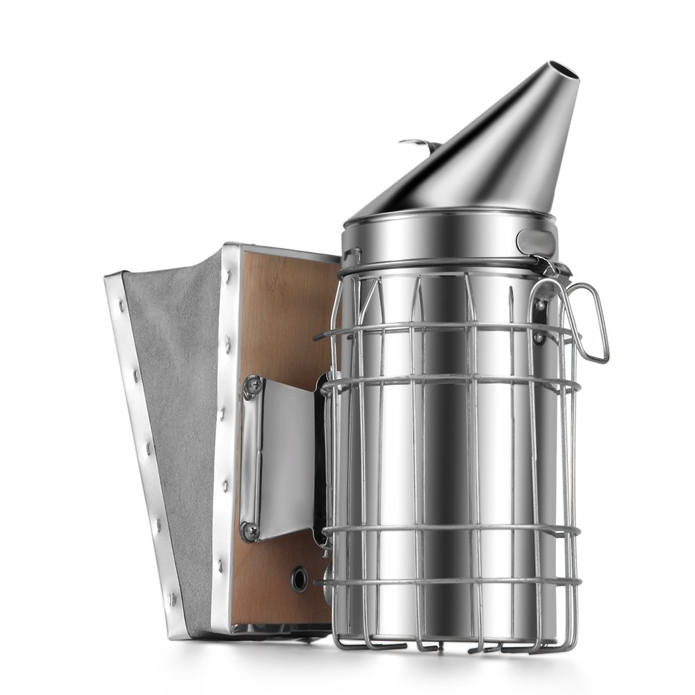 Flexzion Bee Hive Smoker - Bee Keeper Smoker Beekeeping Equipment Tool Stainless Steel with Heat Shield Protection and Mounting Hook