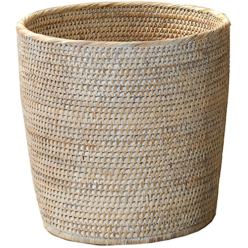 (DWBA Malacca Round Small Countertop Vanity Wastebasket Trash Can - Rattan (Light Rattan))