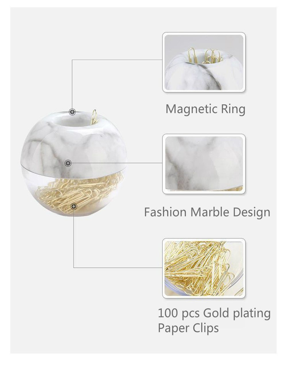 100/ clips per box 28/ mm Multibey graffette in elegante magnetico marmo bianco supporto a clip oro