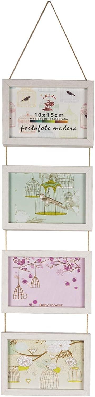 Solagua Marco de Madera para Pared Portafotos Vintage para Colgar Marcos de Foto Decorativo (Vertical 4 * 10x15cm, Crudo)