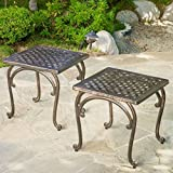 Home Mckinley 2-piece Cast Aluminum Outdoor Square End Table For Sale