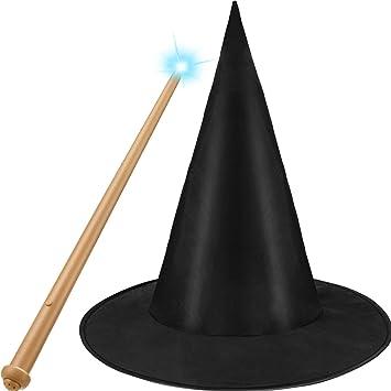 Gejoy Sombrero de Disfraz de Mago y Varita de Juguete Iluminada ...