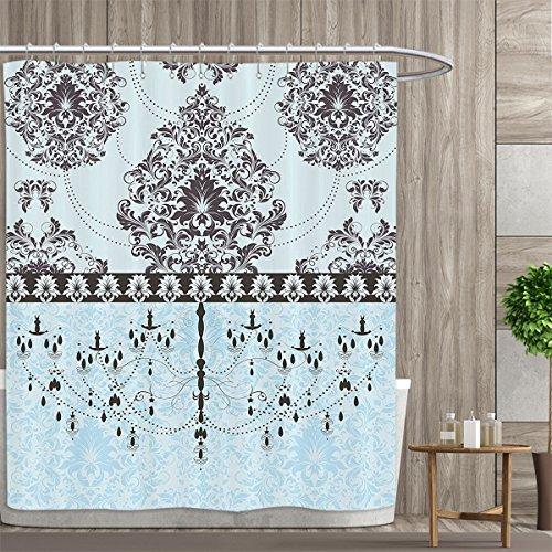 Leaves 5 Light Chandelier - BarronTextile Elegant Shower curtains 3D Digital Printing Vintage Invitation Card with Black Flowers Leaves Ribbon and Chandelier Print Custom Made Shower Curtain 72