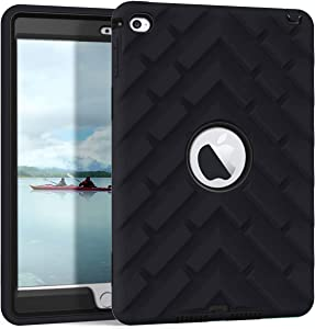 iPad Mini 4 Case, iPad A1538/A1550 Case, Hocase Rugged Shockproof Anti-Slip Hybrid Hard Shell+Silicone Rubber Bumper Protective Case for Apple iPad Mini 4th Generation 2015 - Black
