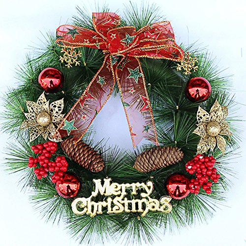 Zehui Christmas Tree Decoration 30cm Wreath Pine Xmas Party Holiday Door Winter Decoration (Deco Mesh Halloween Tree)