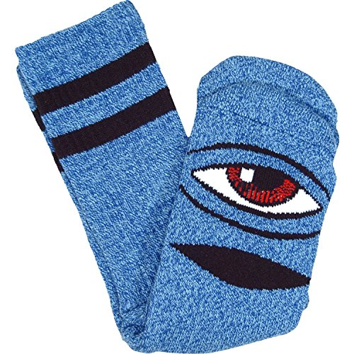 Toy Machine Sect Eye Heather Crew Socks-Blue - Single Pair
