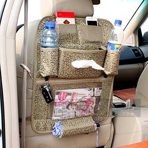 CiDoss Beige High quality Waterproof fabric Car Auto Vehicle Seat Side Back Storage Pocket Backseat Hanging Storage Bags Organizer litter Bag Pouch,Multi-function car back bag