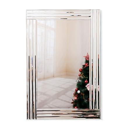 RICHTOP Muro Specchio Grande Moderno Triplo smussato Rettangolare Classico  Semplice Argento Specchio da Parete per Soggiorno, Corridoio 2FT x 3FT