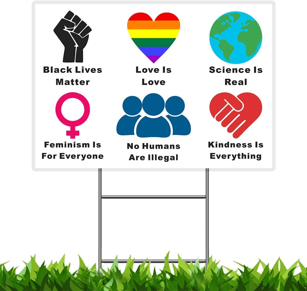 "Pudada We Believe Yard Sign, 18""x 12"" Black Lives Matter Human Rights Science Love Kindness Anti-Racism BLM Lawn Sign, Double Sided Print Corrugated Plastic Banner Metal Stake for Outdoor Patio Garden"