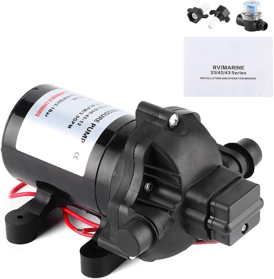 Bomba de diafragma, 12V 3.0GPM 45PSI Bomba de agua de diafragma Autocebante de alta presión para barco marino RV