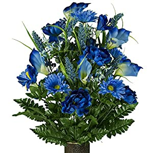 Blue Peony Daisy and Calla Lily Mix, featuring the Stay-In-The-Vase Design(C) Flower Holder (LG1940) 17