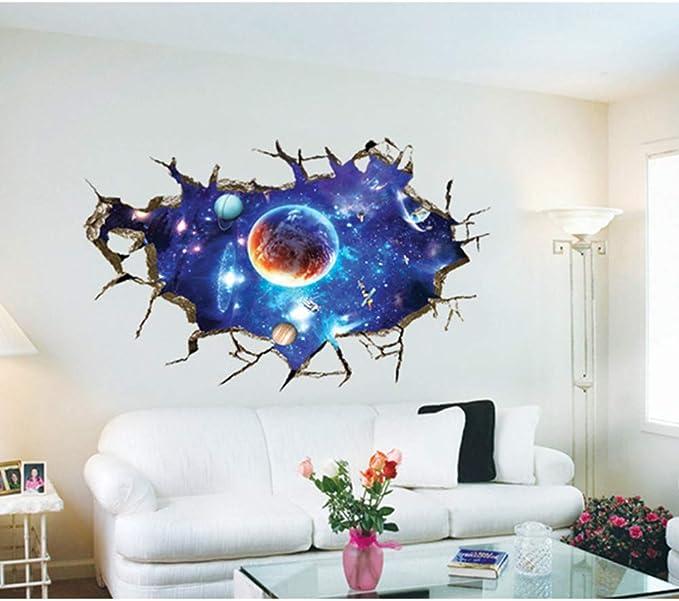 DDG EDMMS stickers muraux amovibles PVC 3D planet espace autocollants lunaire mur /étoiles de terre stickers muraux art d/éco maison enfants b/éb/é chambre enfant chambre plafond jardin denfants sal