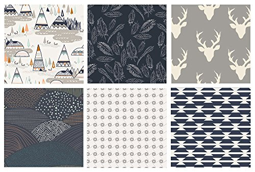 (Native American Gray and Navy Fabric Bundle | Indian Summer | Hello Bear | Boy's Quilt Fat Quarters | Woodland Nursery Fabrics | Art Gallery Fabrics (Fat quarters))