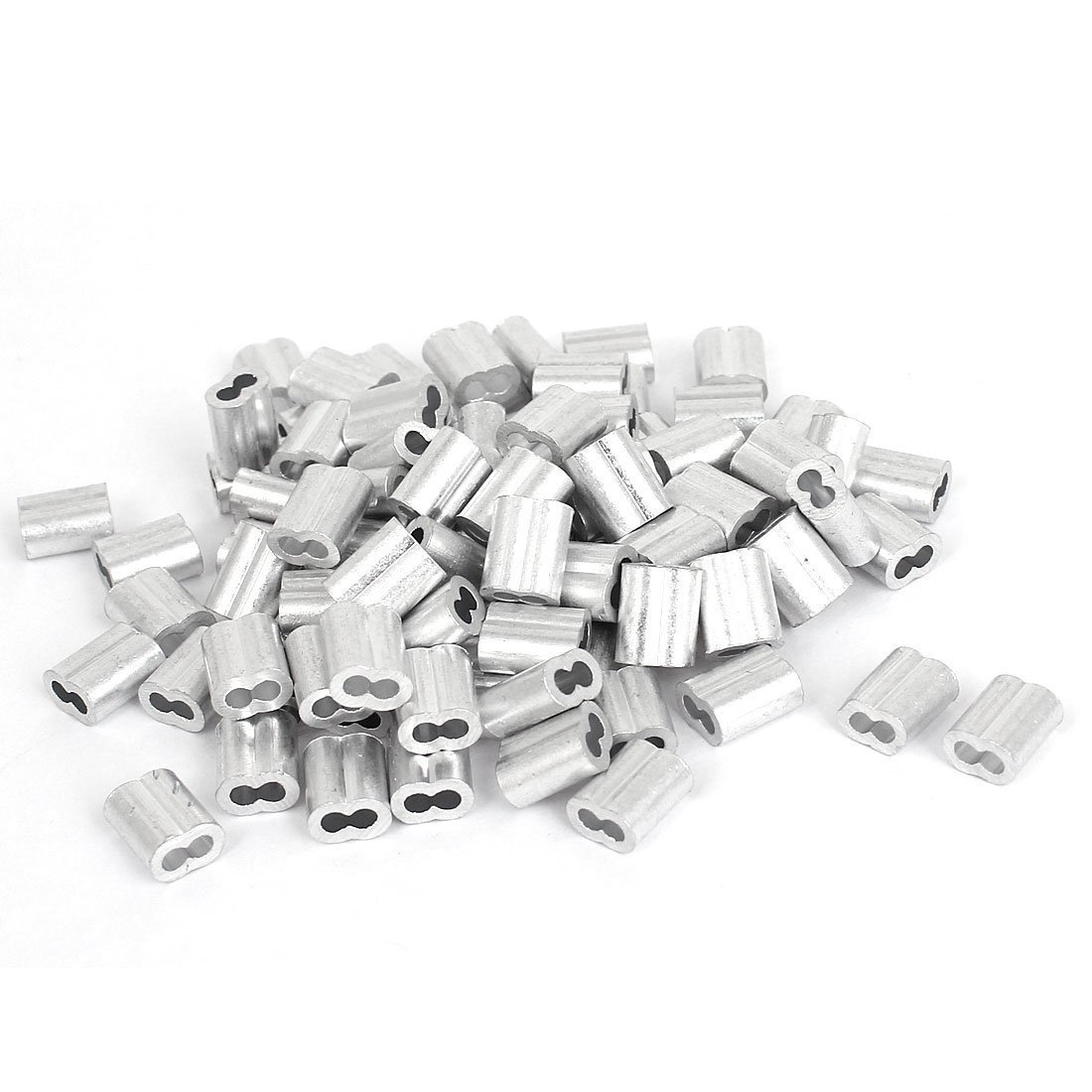 Chris-Wang 100Pcs 2mm Wire Rope Aluminum Sleeves Clip Fittings Cable Crimps(Silver Tone)