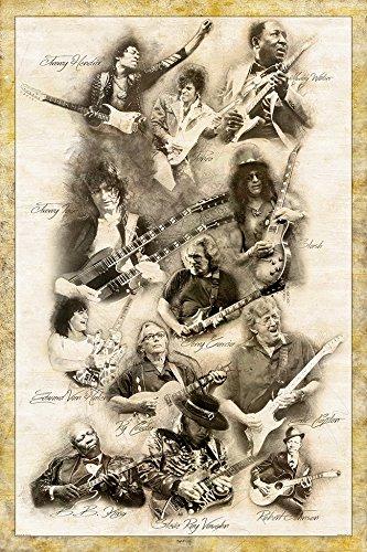 "Digital Fusion Prints Guitar Legends (Jimmy Page, Prince, Slash, Eric Clapton, Muddy Waters, Ry Cooder, Eddie Van Halen, Jimmy Hendrix, Robert Johnson.) Retro Poster 24"" x 36"" (Unframed)"