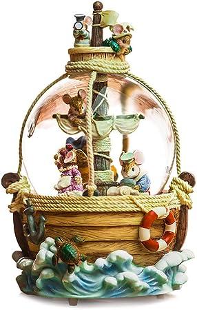 AIBAB Bola De Cristal Giratoria Caja De Música Caja De Música A Cuerda Pequeña Aventura De Navegación con El Ratón Lentejuela Regalo De San Valentin: Amazon.es: Hogar