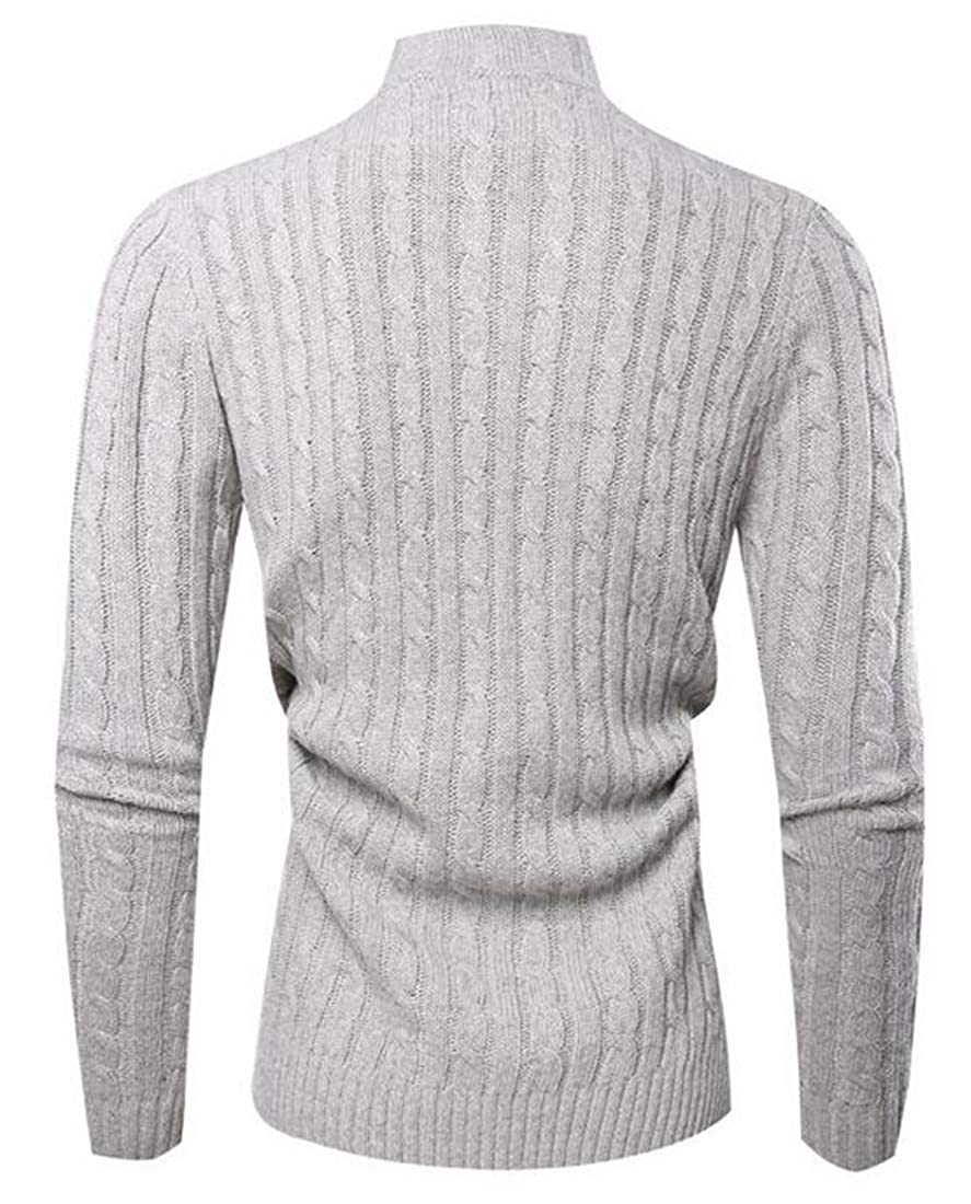 Joe Wenko Mens Button Long Sleeve High Collar Cable Knit Pullover Sweaters