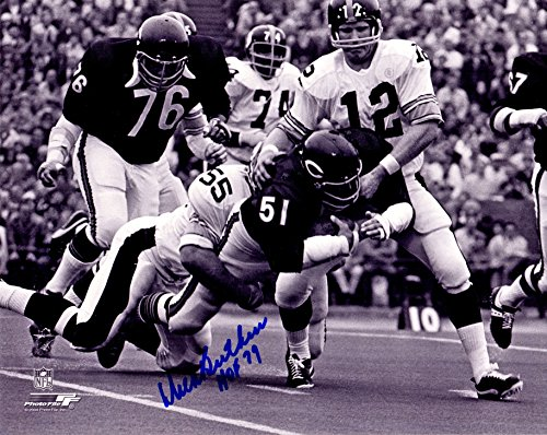 Dick Butkus Signed Chicago Bears Fumble Recovery vs Steelers B&W 8x10 Photo w/HOF 79 Dick Butkus Signed Photo