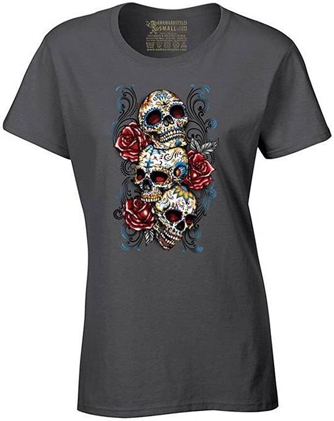 Women's Sugar Skulls and Roses T-Shirt Day of The Dead Shirt