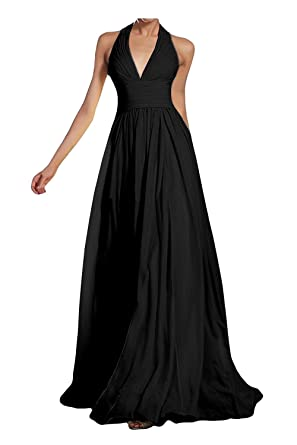 a2beb18432c5 Kevins Bridal Deep V-Neck Halter Bridesmaid Dress Empire Waist Chiffon  Formal Prom Dresses Black