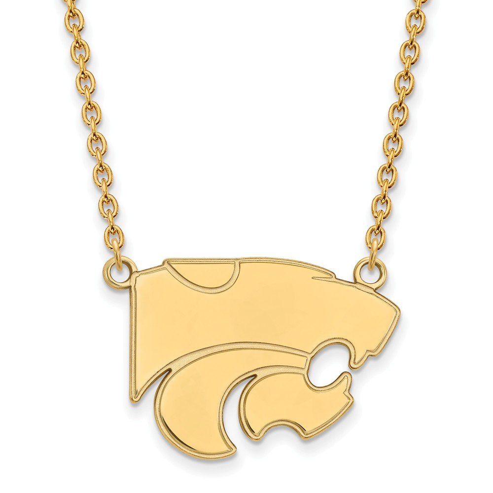 Length 18 in Sterling Silver w//GP LogoArt Kansas State University Large Pendant w//Neckla Sterling Silver