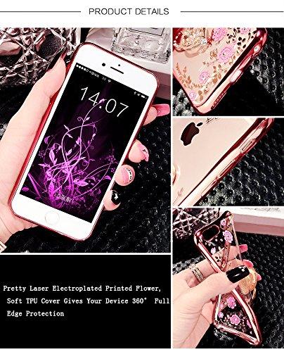 iPhone 8Plus Funda Silicona, CLTPY iPhone 7Plus Cristal Diamante de la Serie Bling Brillo TPU Cubrir, Alta Resistencia y Flexibilidad Caja para el Apple iPhone 7Plus/8Plus + 1 x Stylus Libre - Rhinest Flores Rosadas