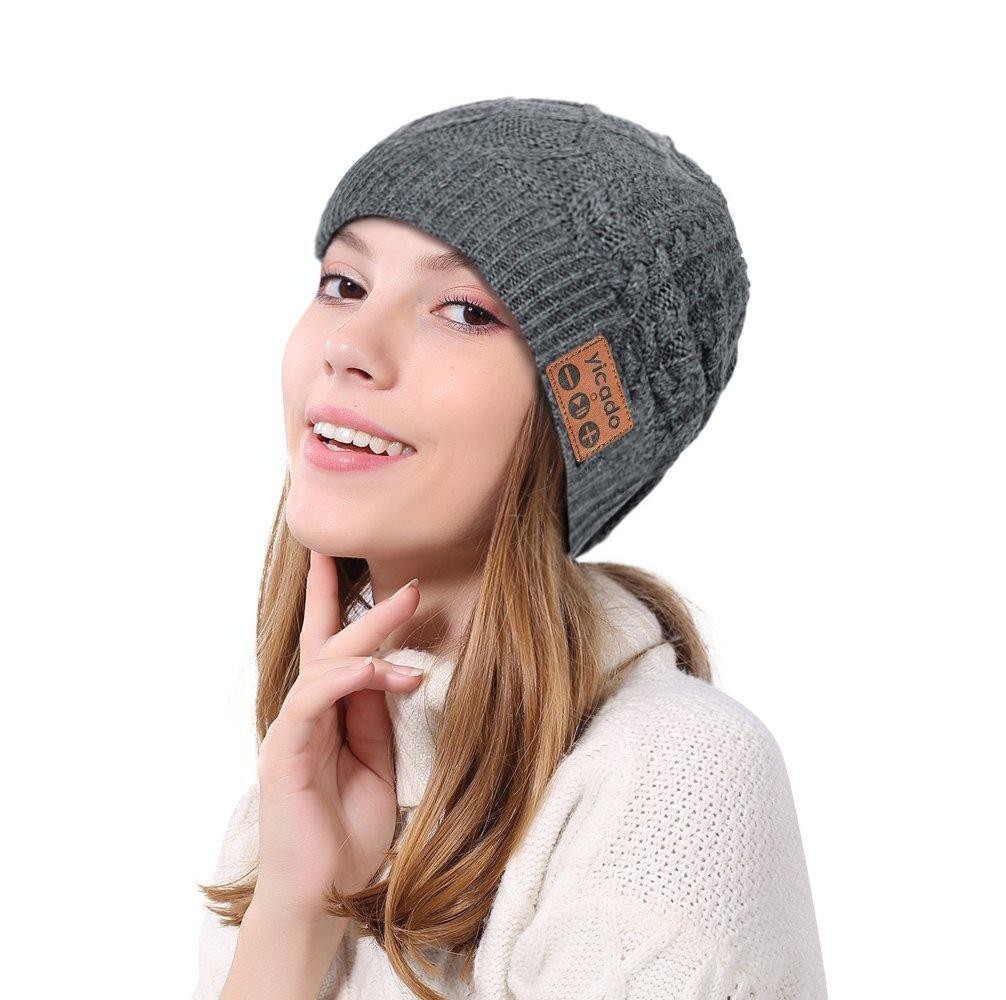 SansyGoods Bluetooth Beanie Hat Earbud Wireless Headphone Headset Earphone Speakerphone Wireless Hands-Free Hat Sport Knit Cap, Built-in Mic Warm Soft Winter Knitted Short Cap Mic Outdoor BB019_Grey