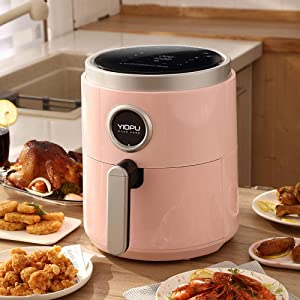 ZLJ 5L Air Fryer Smokeless Intelligent Automatic Electric Household Multifunction Oven Oil Free Fryer-Pink