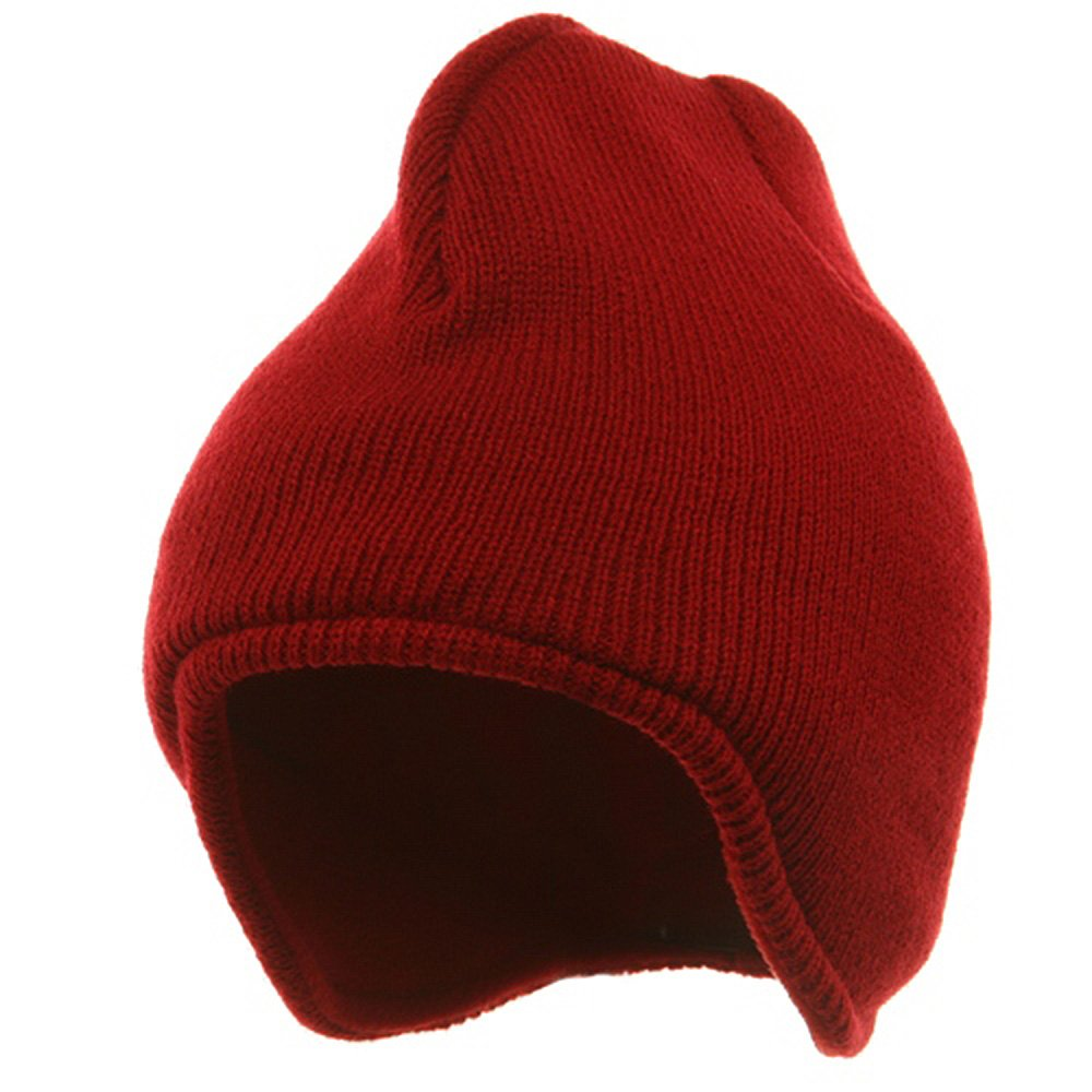 OUTDOOR Acrylic Solid Knit Beanies-Red
