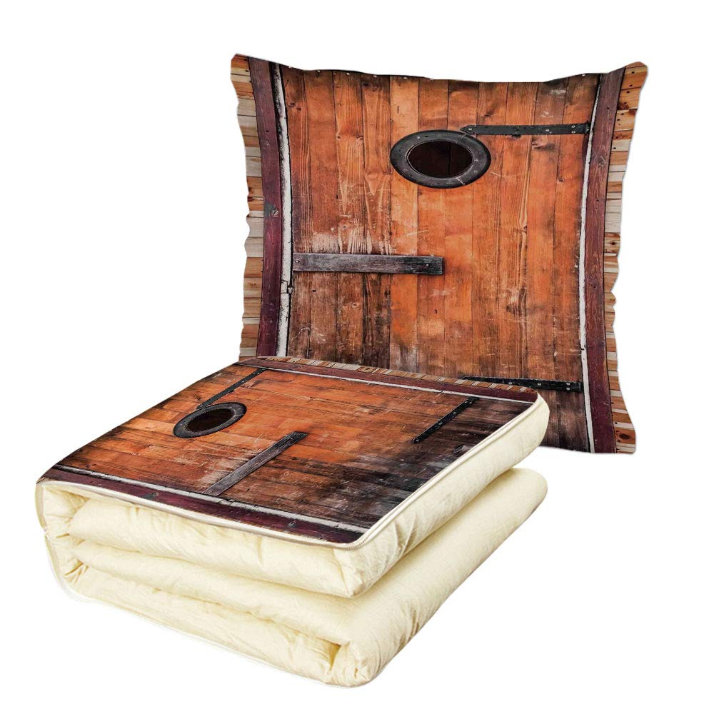 iPrint Quilt Dual-Use Pillow Rustic Photograph of Antique Knotted Pine Wood with Control Window Lumber Nature Design Multifunctional Air-Conditioning Quilt Caramel Brown