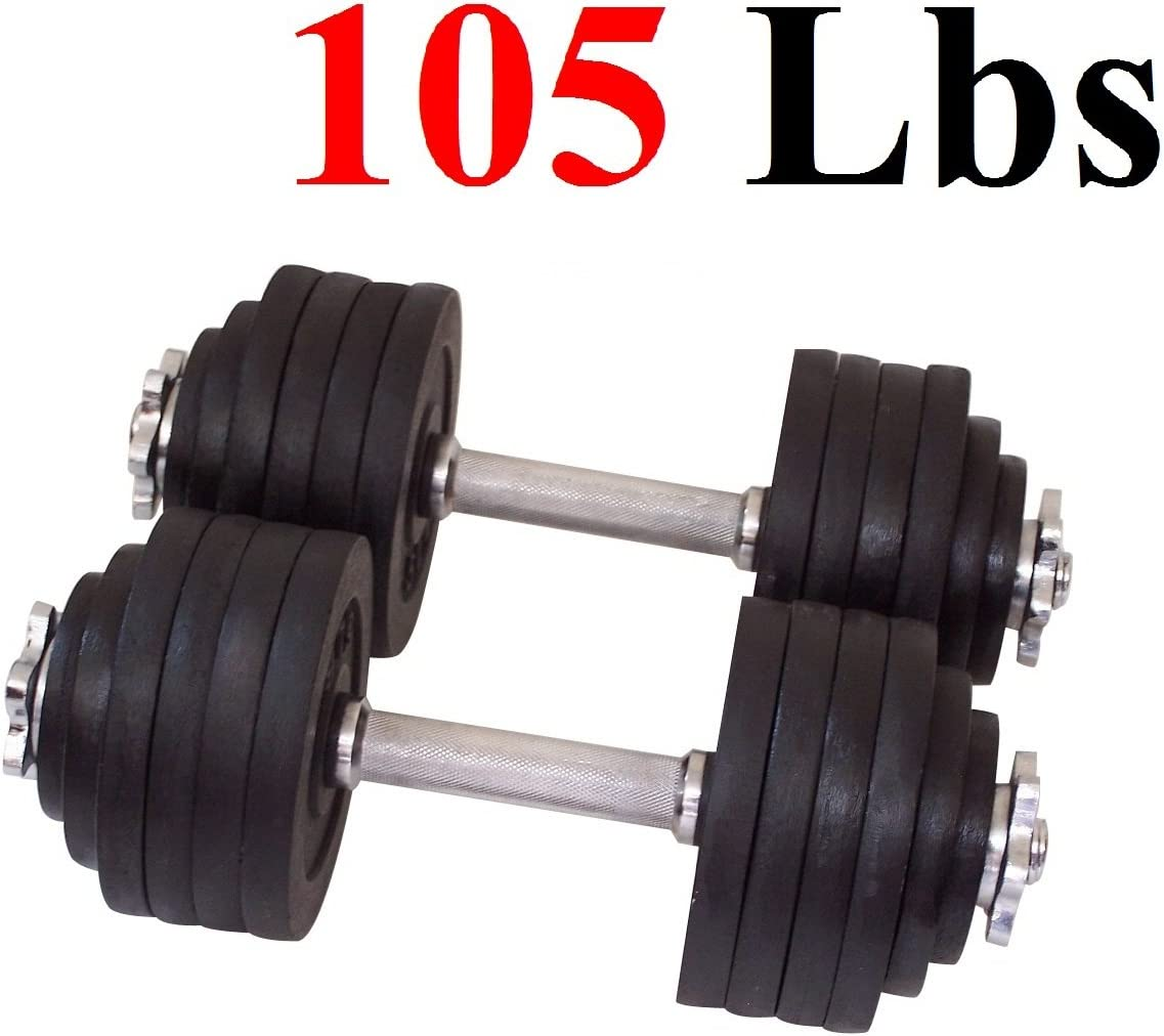 One Pair of Adjustable Dumbbells Cast Iron Total 105 Lbs 2 X 52.5 Lbs by Unipack