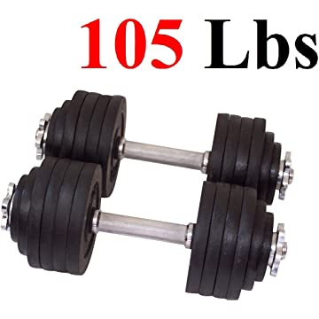 top best One Pair of Adjustable Dumbbells Cast Iron Total 105 Lbs
