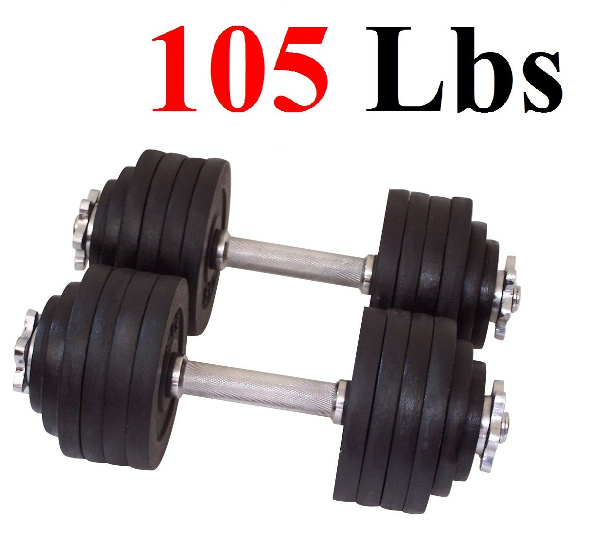 One Pair of Adjustable Dumbbells Cast Iron Total 105 Lbs (2 X 52.5 Lbs) by Unipack by Unipack