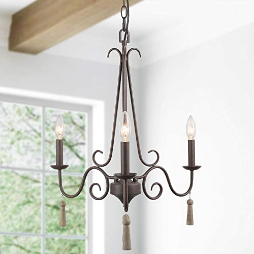 LALUZ Farmhouse Chandelier, Rustic Pendant Light Fixture for Dining Living Room and Foyer with 4 Wood Droplets, A03503